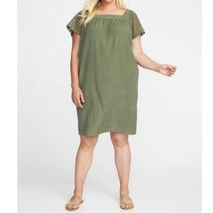 Olive Crochet-Sleeve Shift Dress